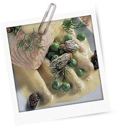 Hähnchenbrüste mit Gemüse in Rahmsauce