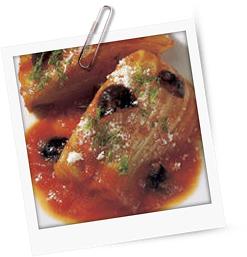 Fenchelgemüse mit schwarzen Oliven