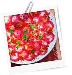 Carpaccio von Tunfisch und Seeteufel mit geröstetem Sesamöl